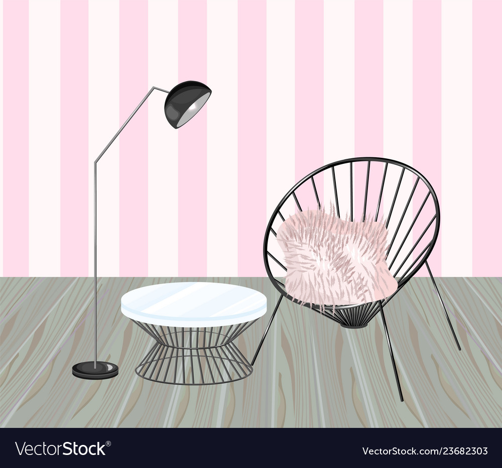 Armchair and table striped background living
