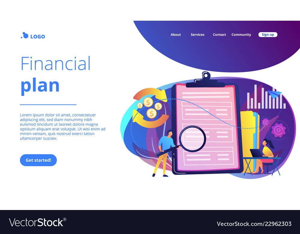 Cash flow statement concept landing page