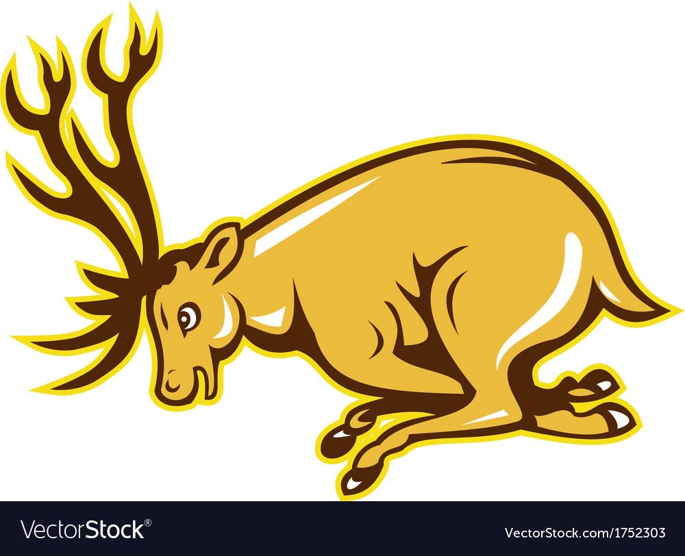 Deer Charging Side Cartoon vector image