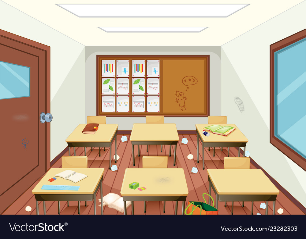 Modern classroom. Empty clipart vector images