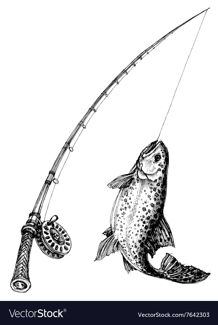 Fishing rod and fish isolated vector image