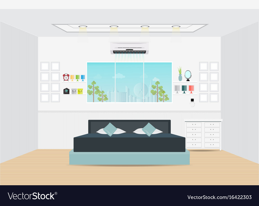 Flat design double bedroom with furniture