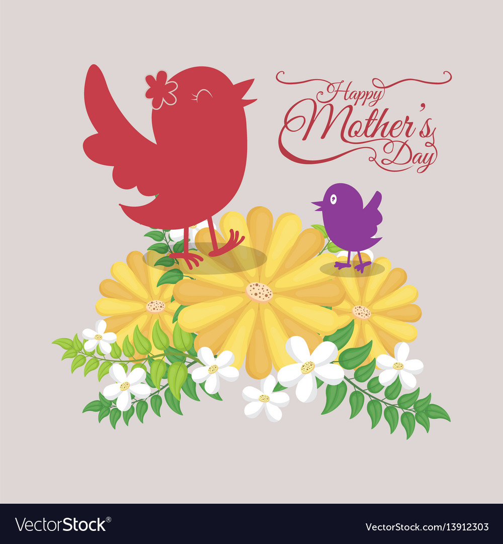Happy mothers day - cute birds and flowers card vector image