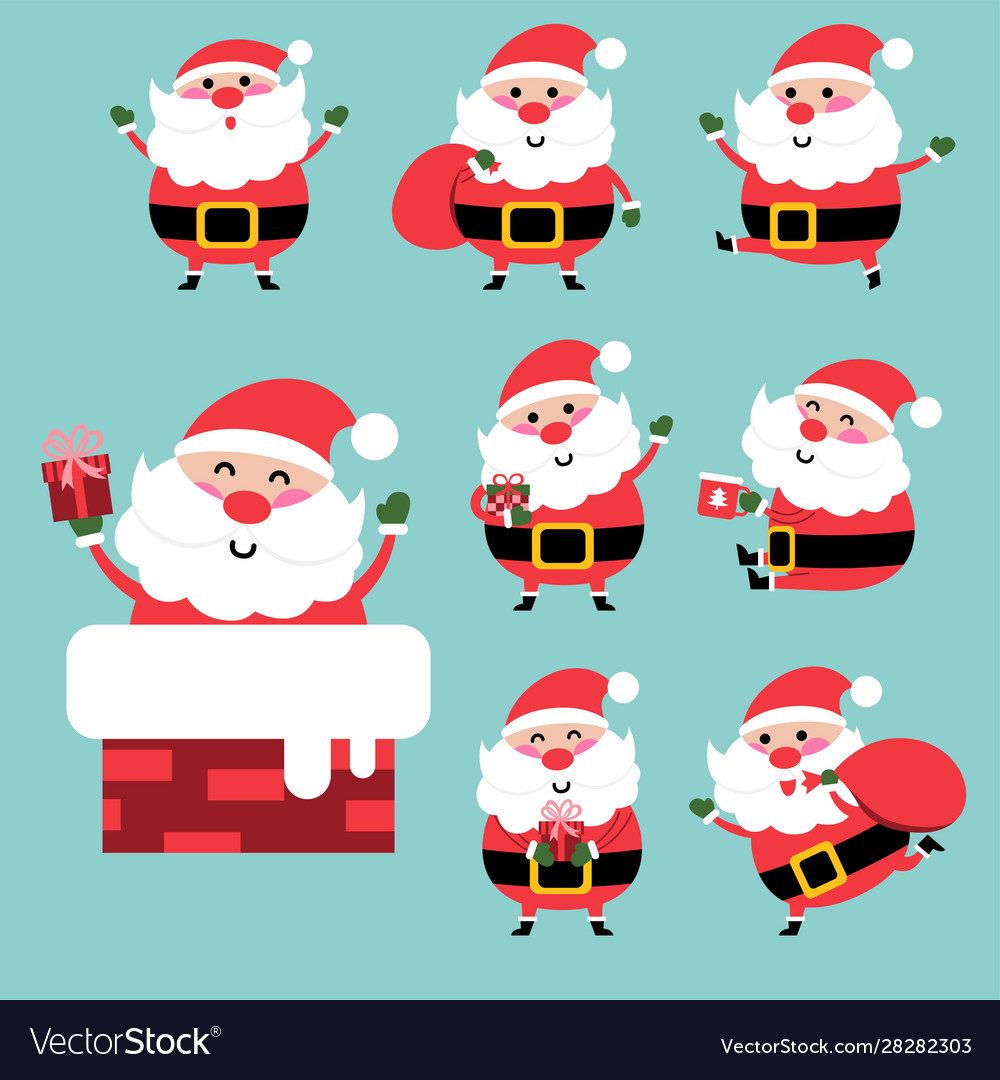 Happy santa character design set