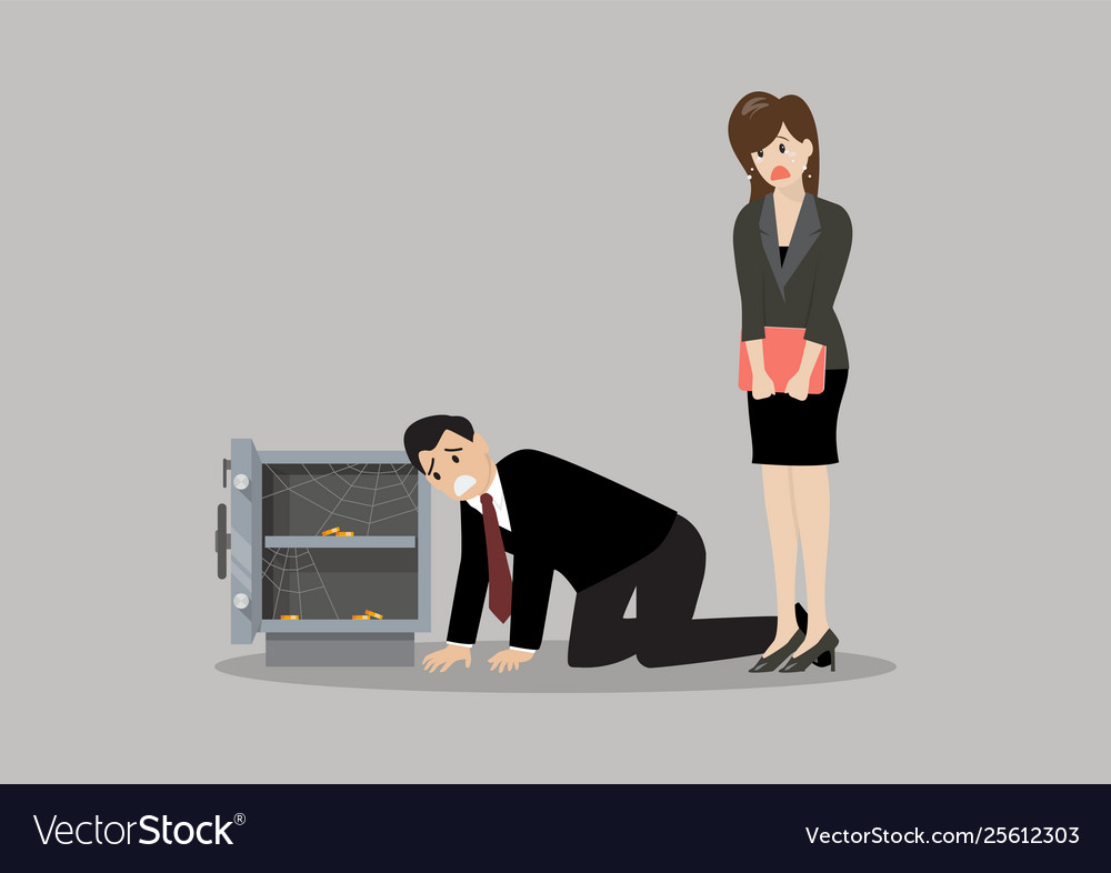 Sad businessman and woman near open door safe