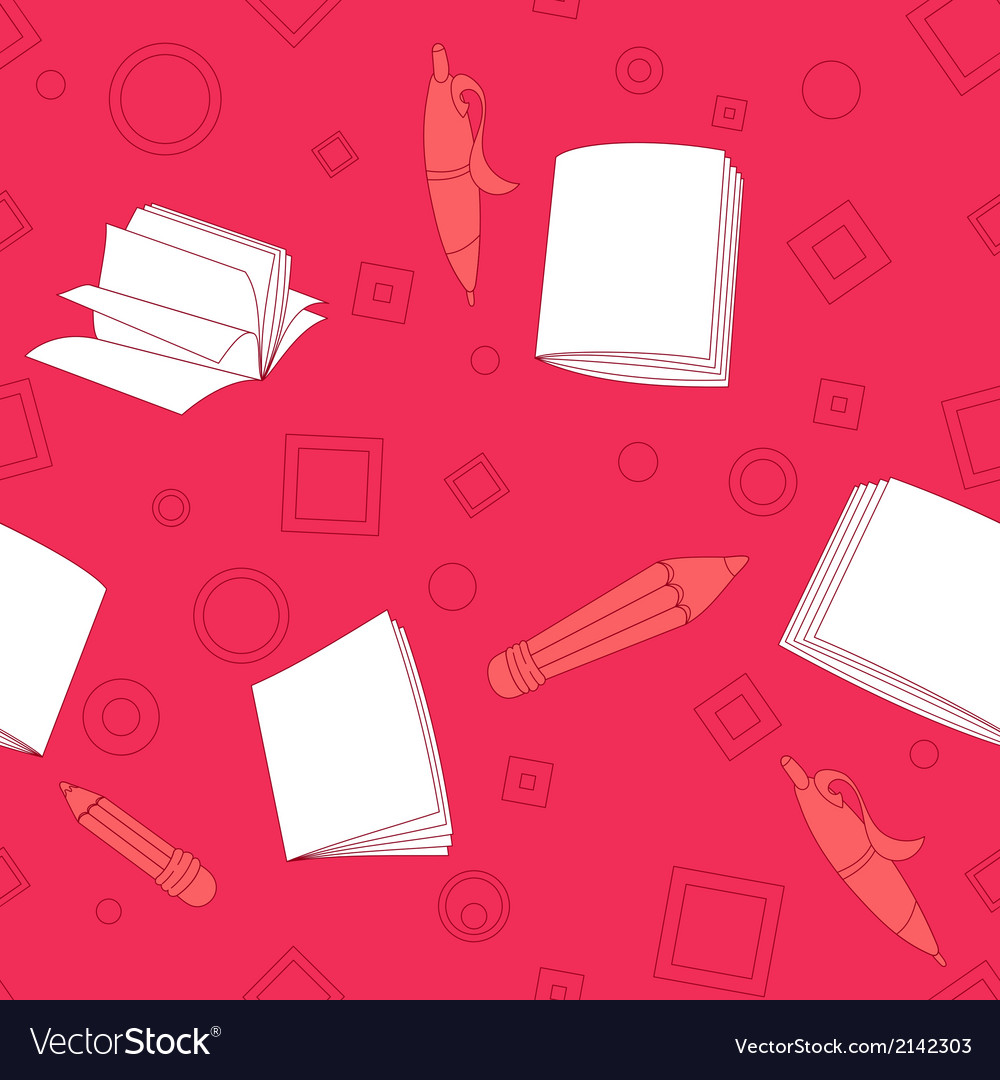 School notes seamless pattern on pink background