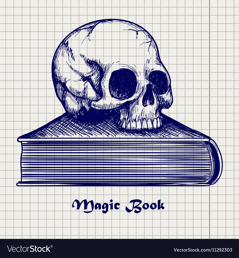 Skull on book ball pen sketch