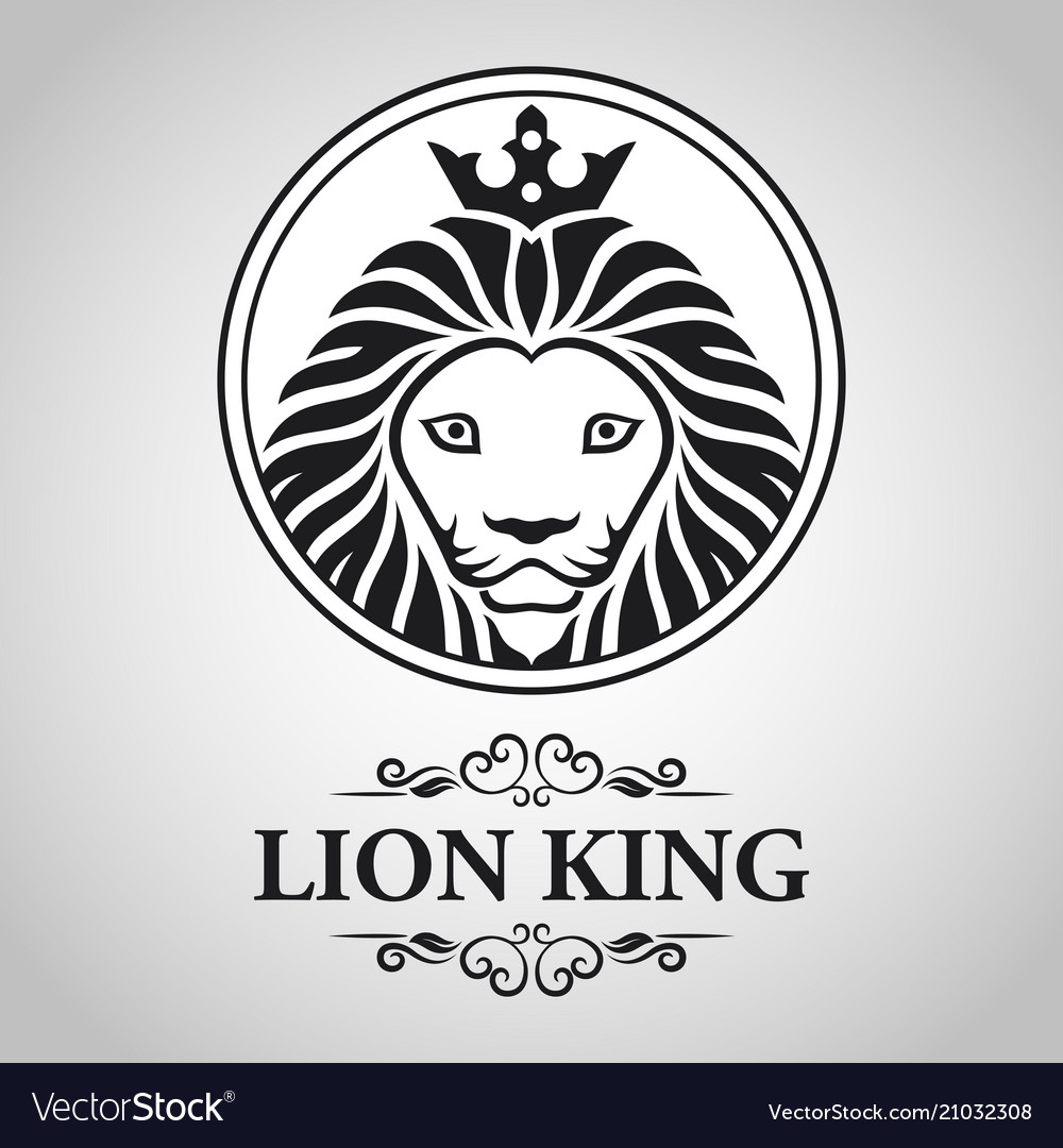 Black lion king head mascot on white background