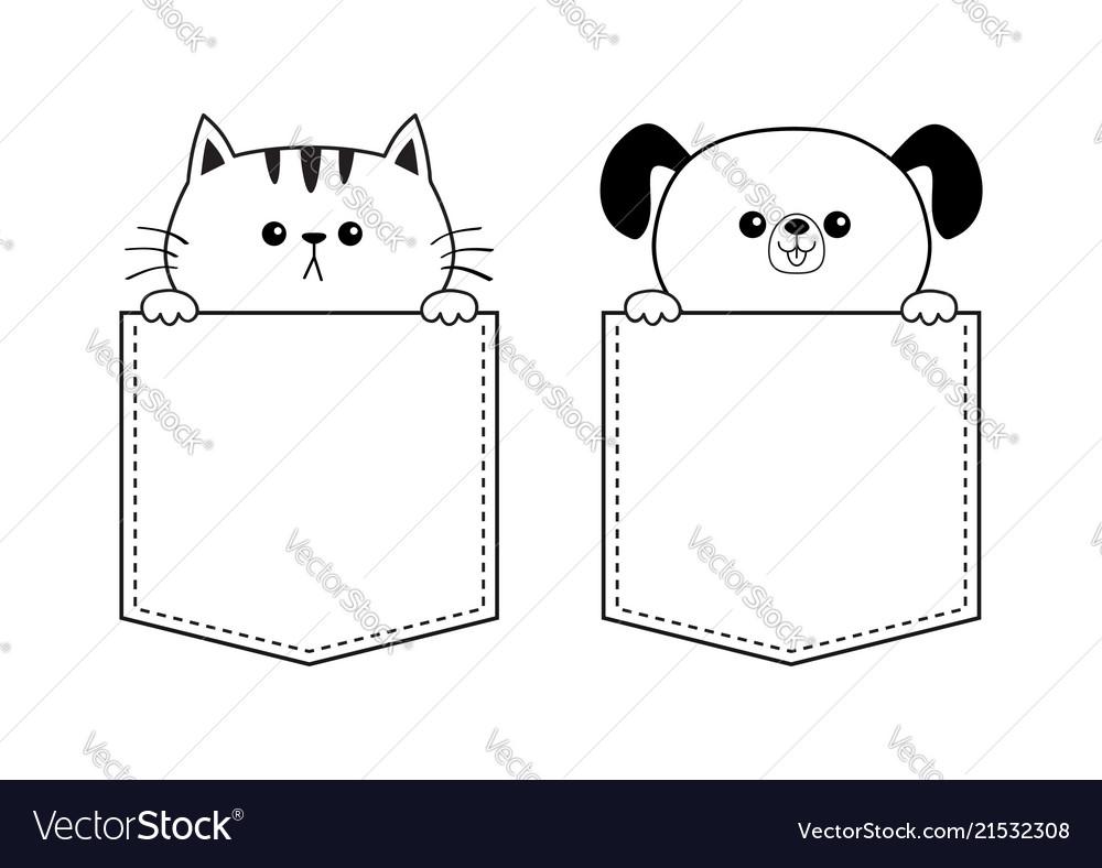 Cat dog face in the pocket holding hands doodle