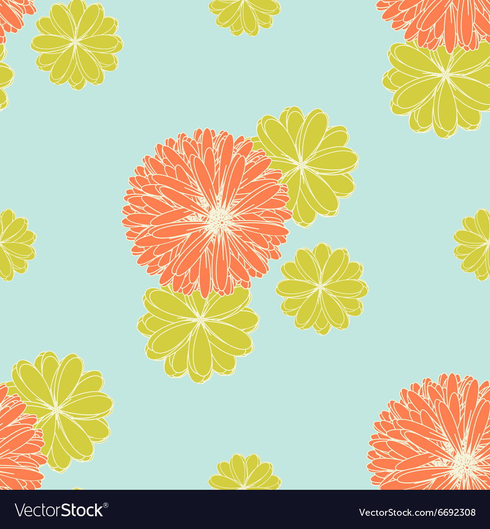 Coral And Yellow Green Flowers Pattern Royalty Free Vector