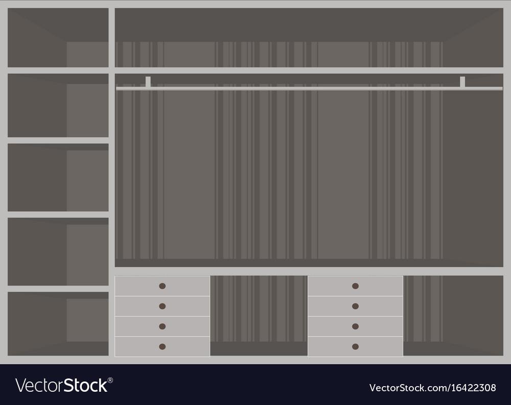 Flat design walk in closet with shelves