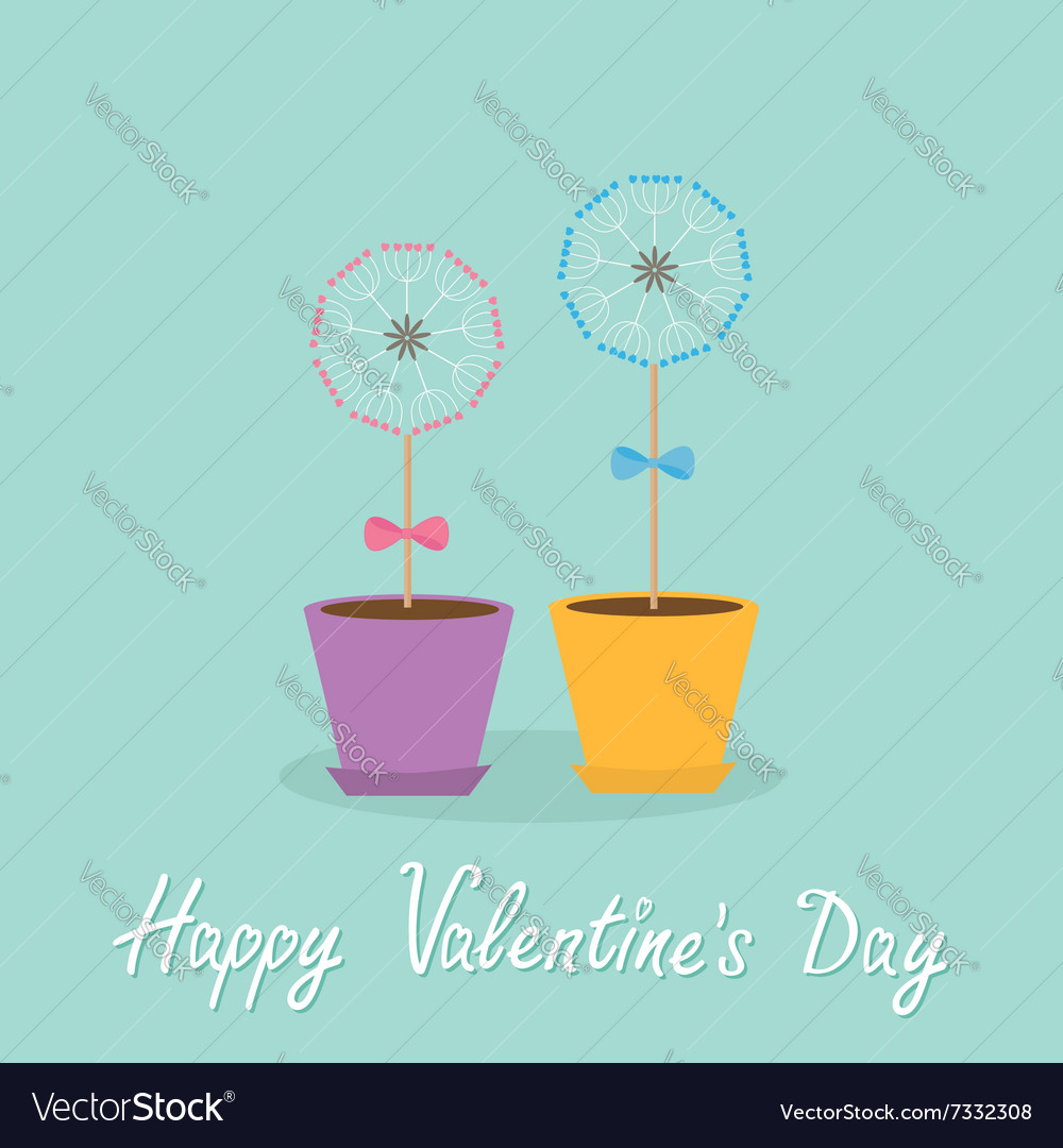 Happy Valentines Day Love card Two dandelion vector image