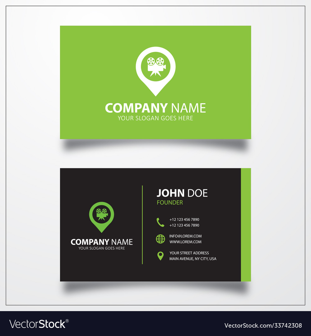 Movie camera with pin icon business card template