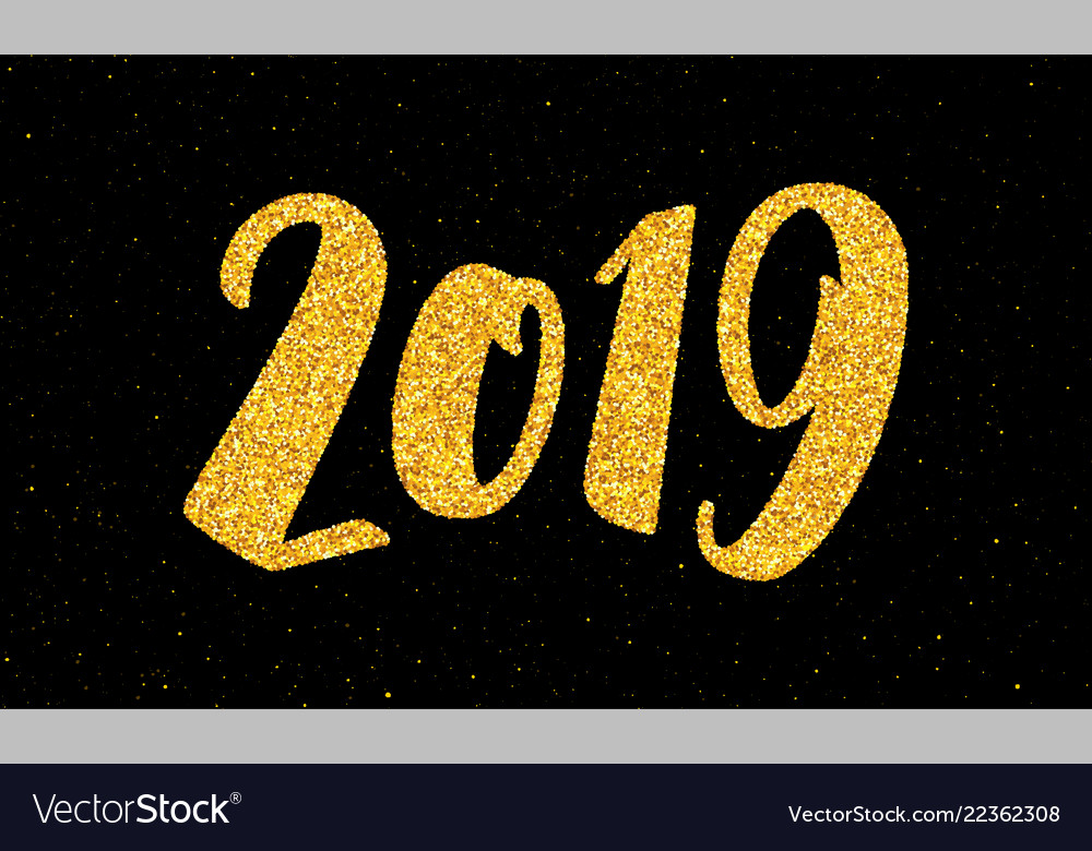 New year 2019 greeting card with calligraphy