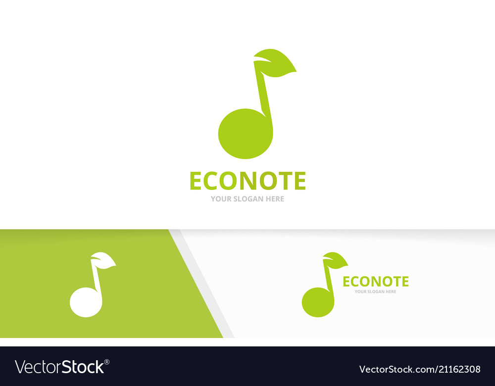Note and leaf logo combination music and