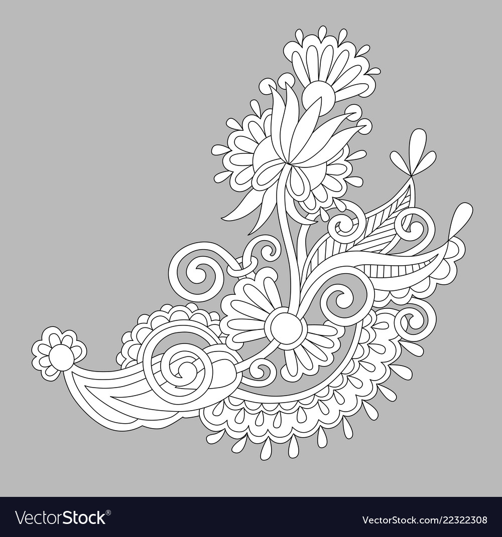 Paisley flower design white floral pattern on