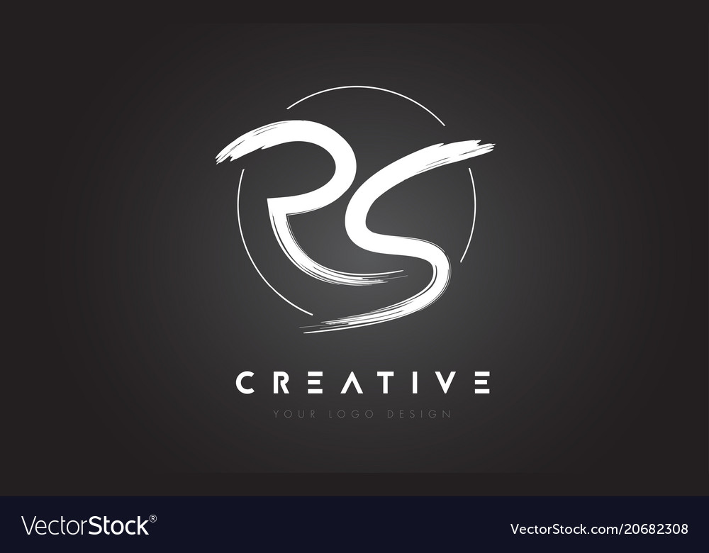 Rs brush letter logo design artistic handwritten Vector Image