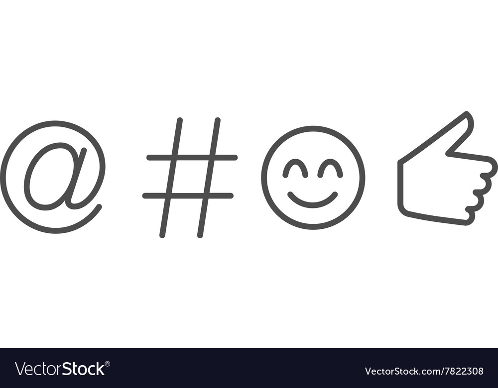 Social media language symbols and icon vector image