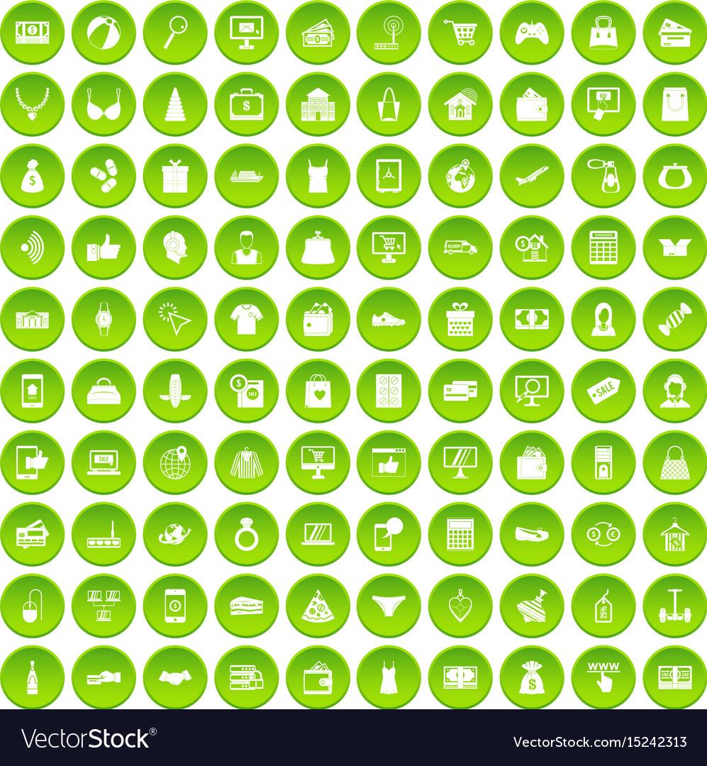 100 online shopping icons set green circle vector image