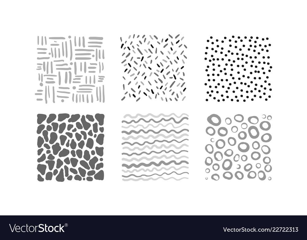 Cute abstract irregular patterns set black gray