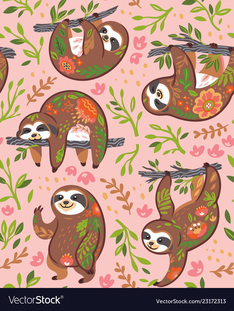 Cute sloths with floral ornament in the jungle