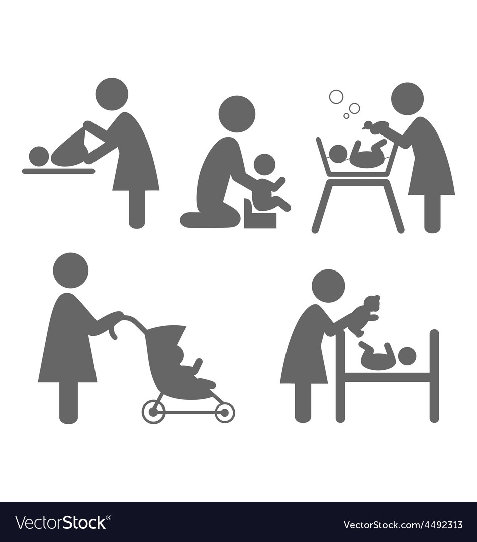 Family and baby flat icons isolated on white