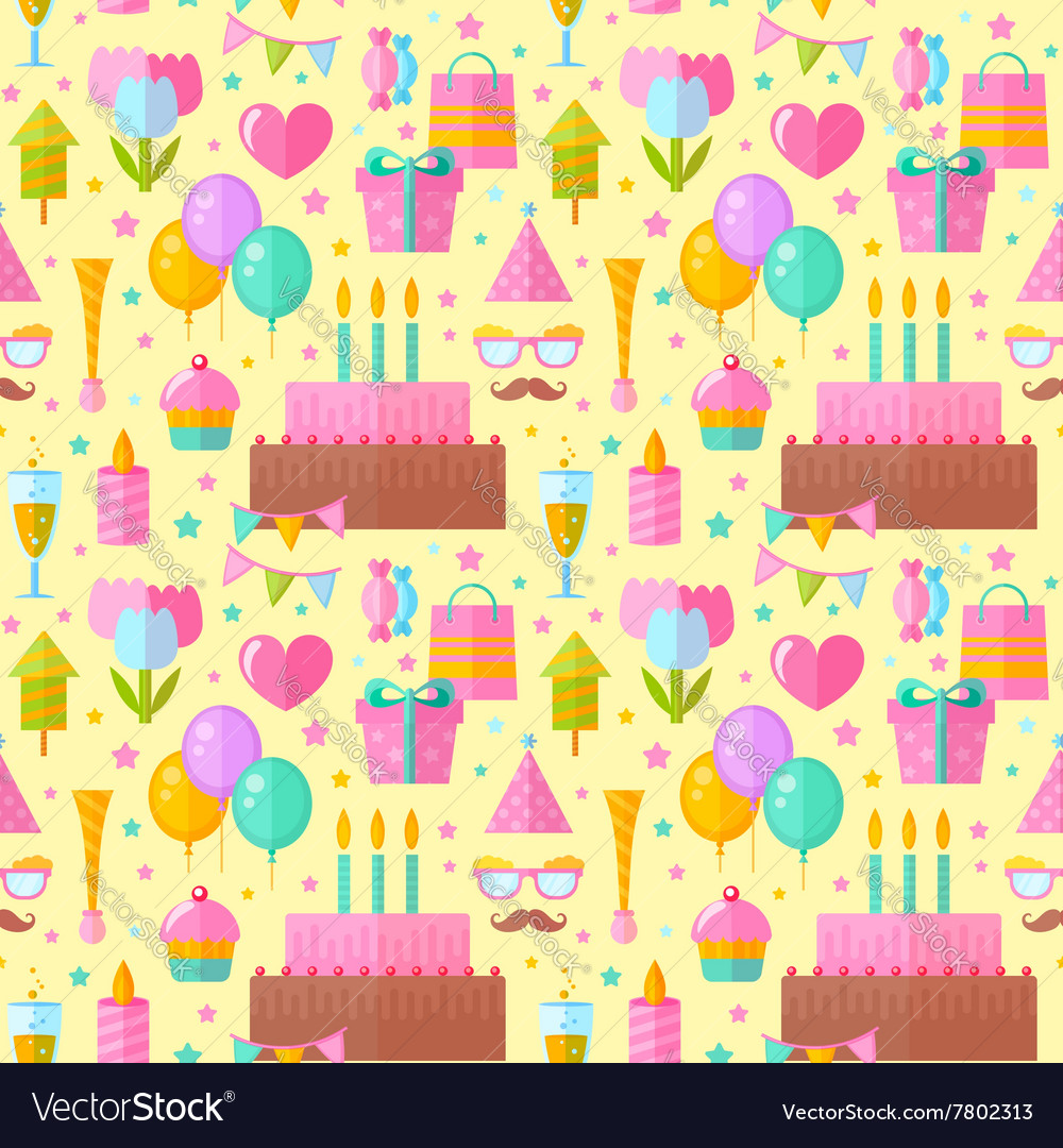 Festive birthday seamless pattern in flat style