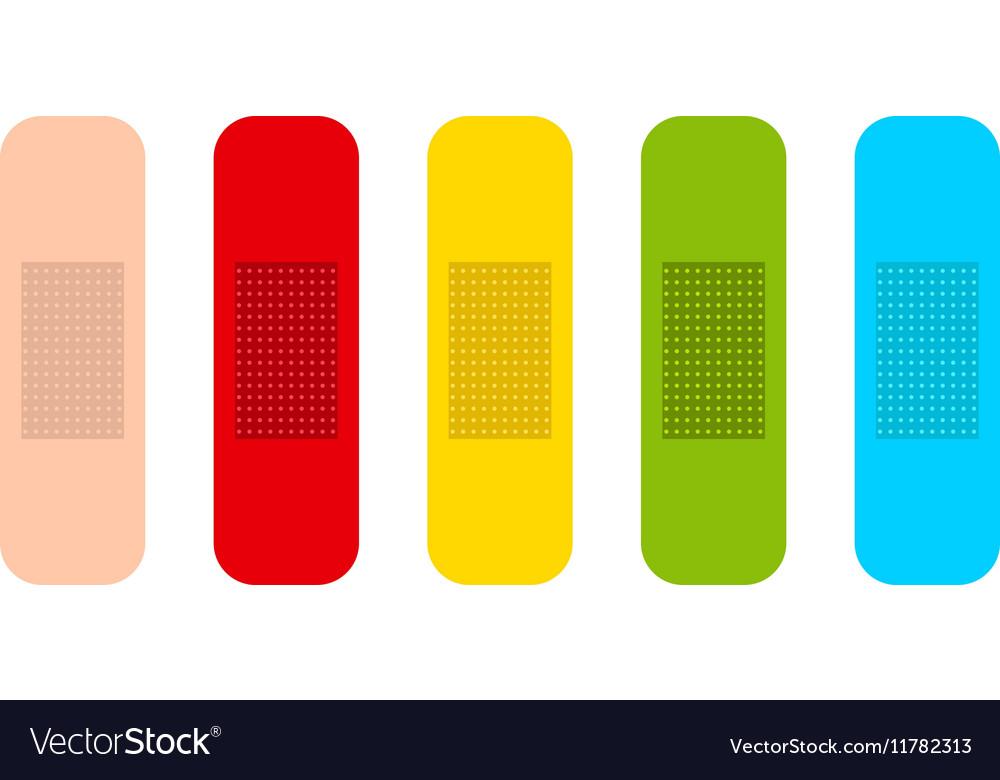 Flat medicine plasters set vector image