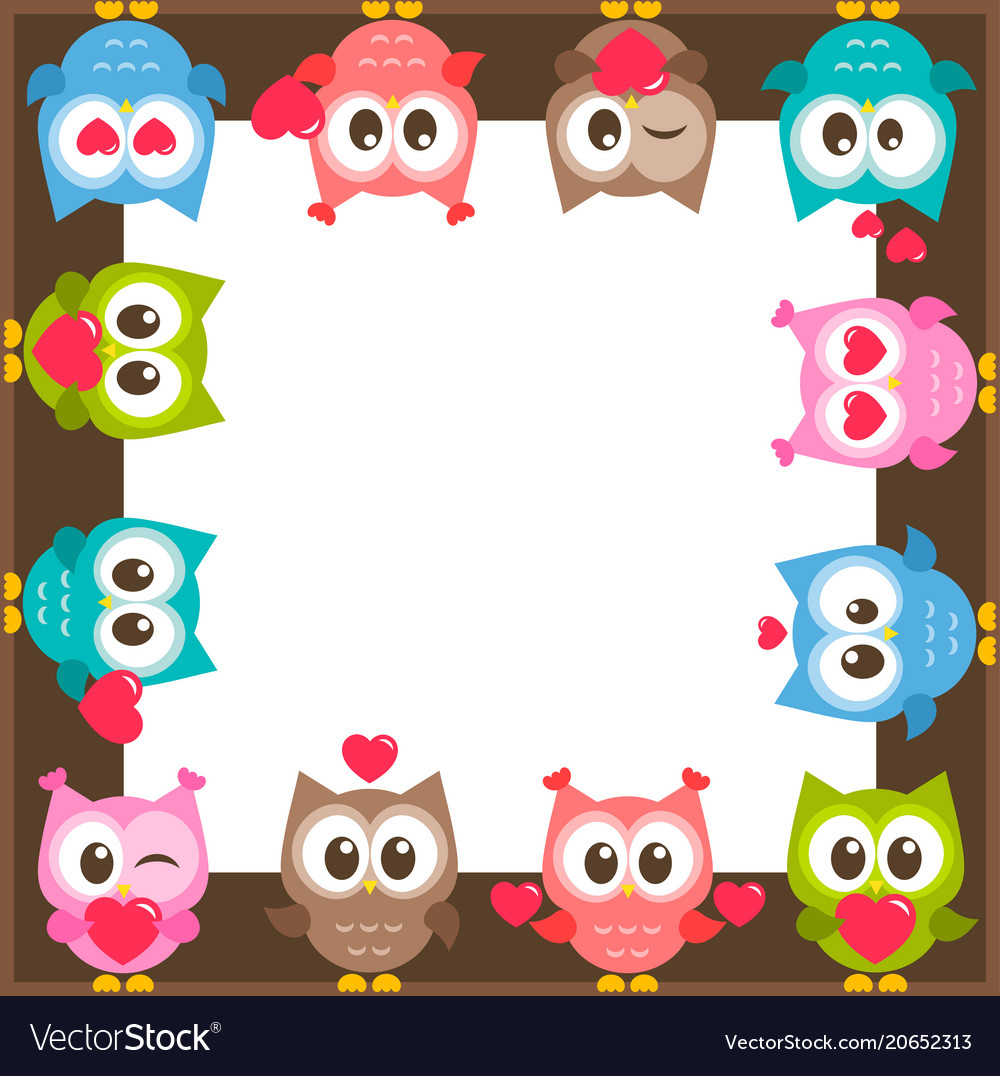 Frame with owls and hearts