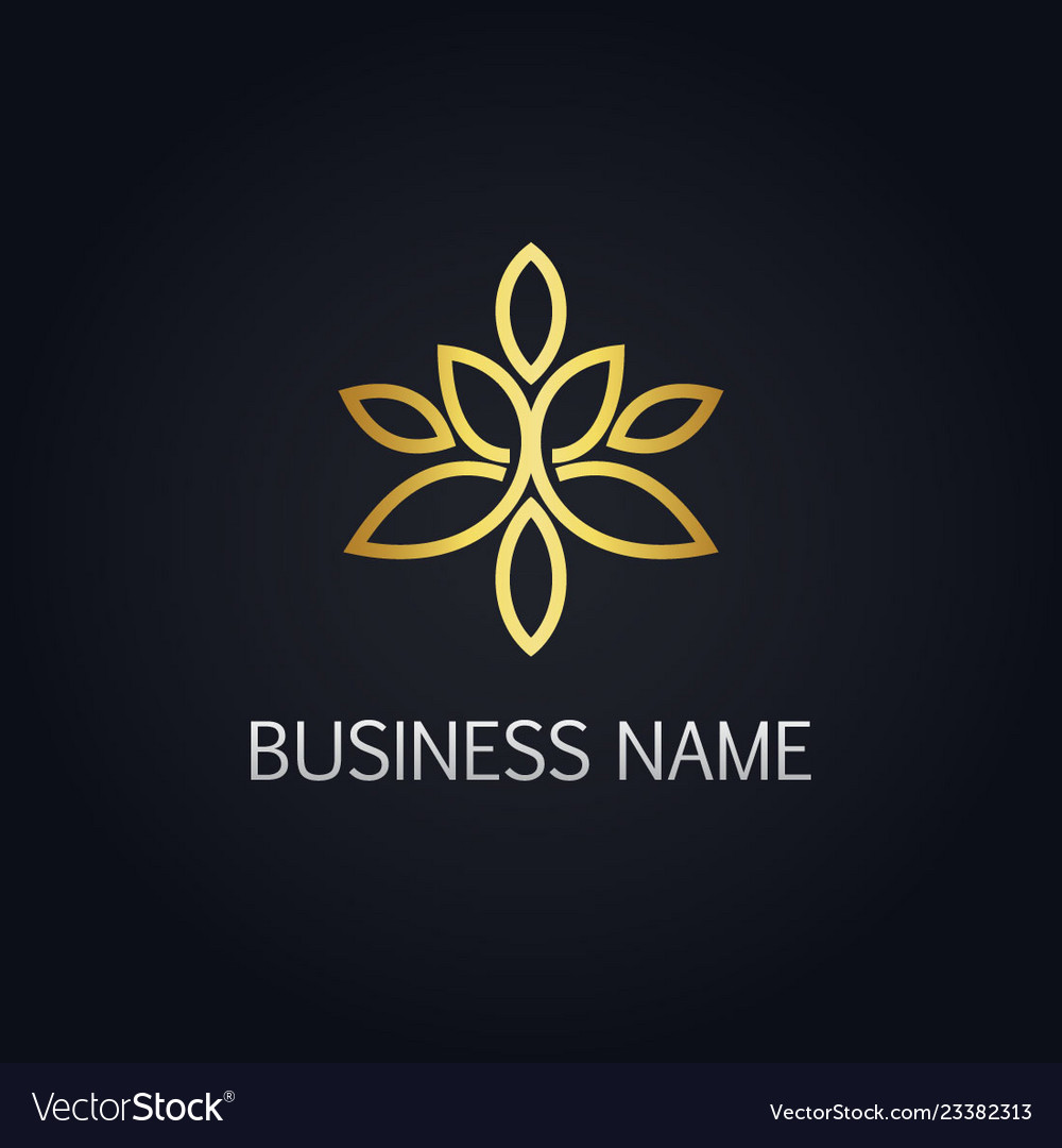 Gold floral ornament line logo