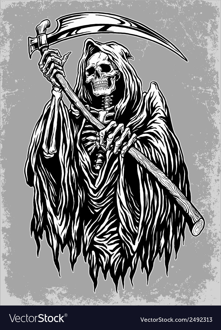 Hand Inked Grim Reaper Royalty Free Vector Image