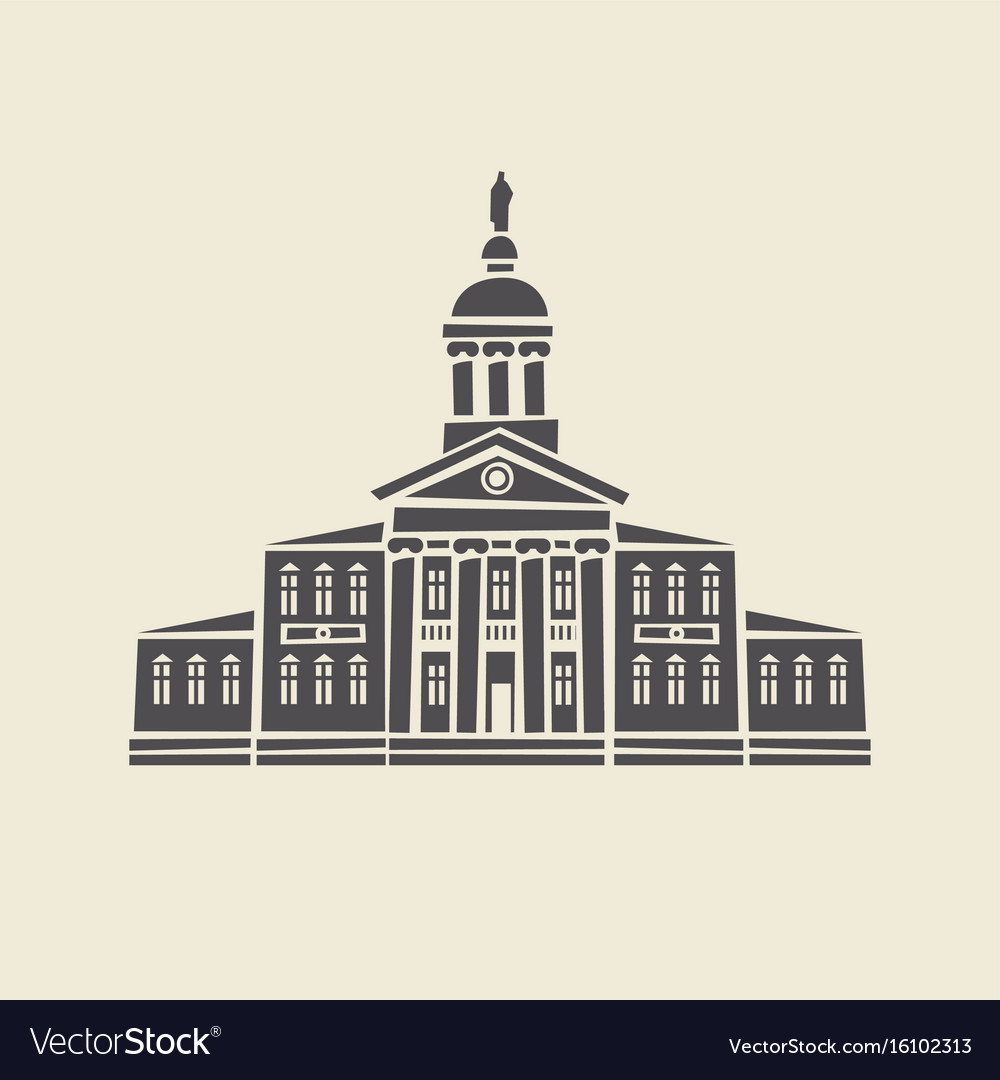 Icon of old administrative building with columns vector image