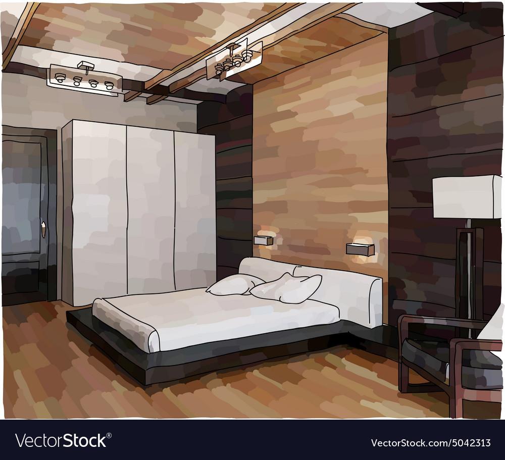 Luxury Bedroom Interior Royalty Free Vector Image