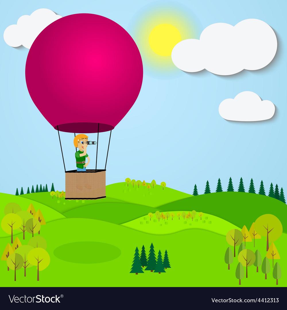 Man flying hot air balloon over the a mountain vector image