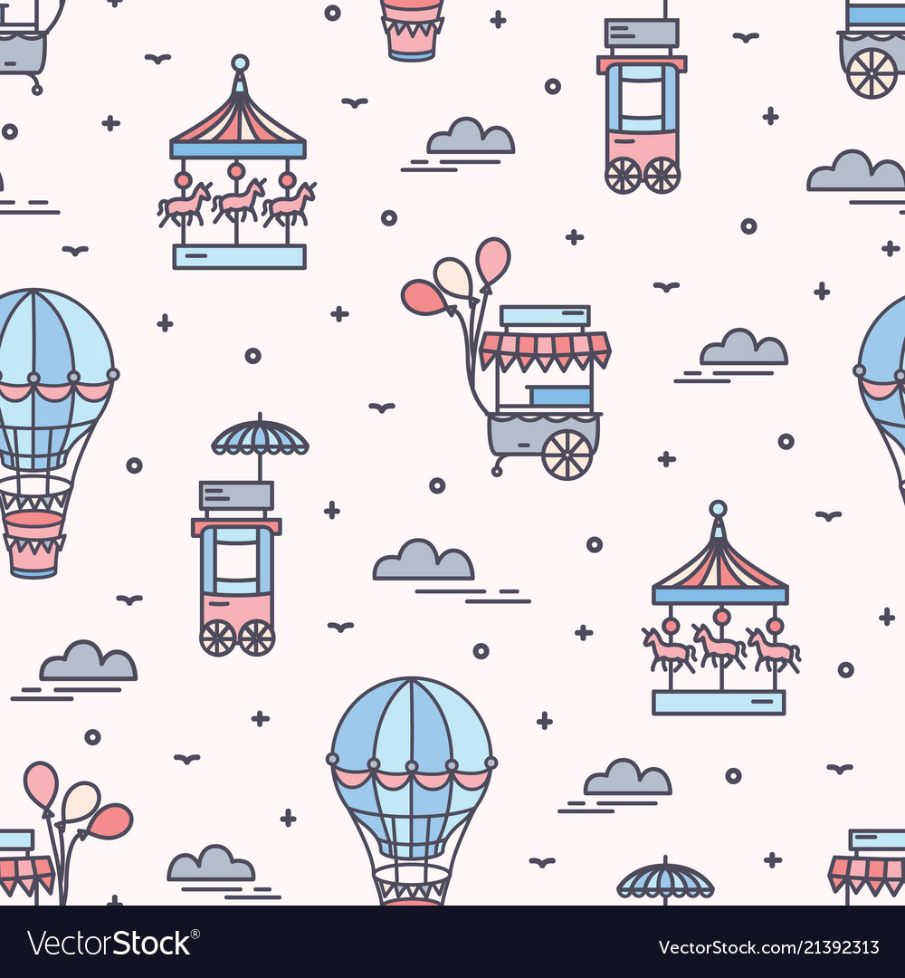 Seamless pattern with amusement park attractions