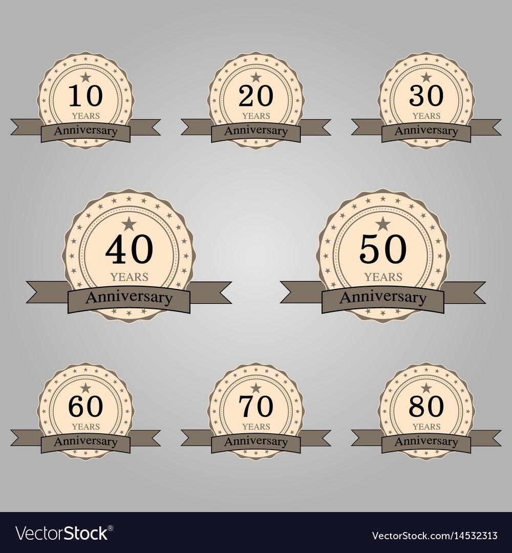 Set of anniversary retro badges