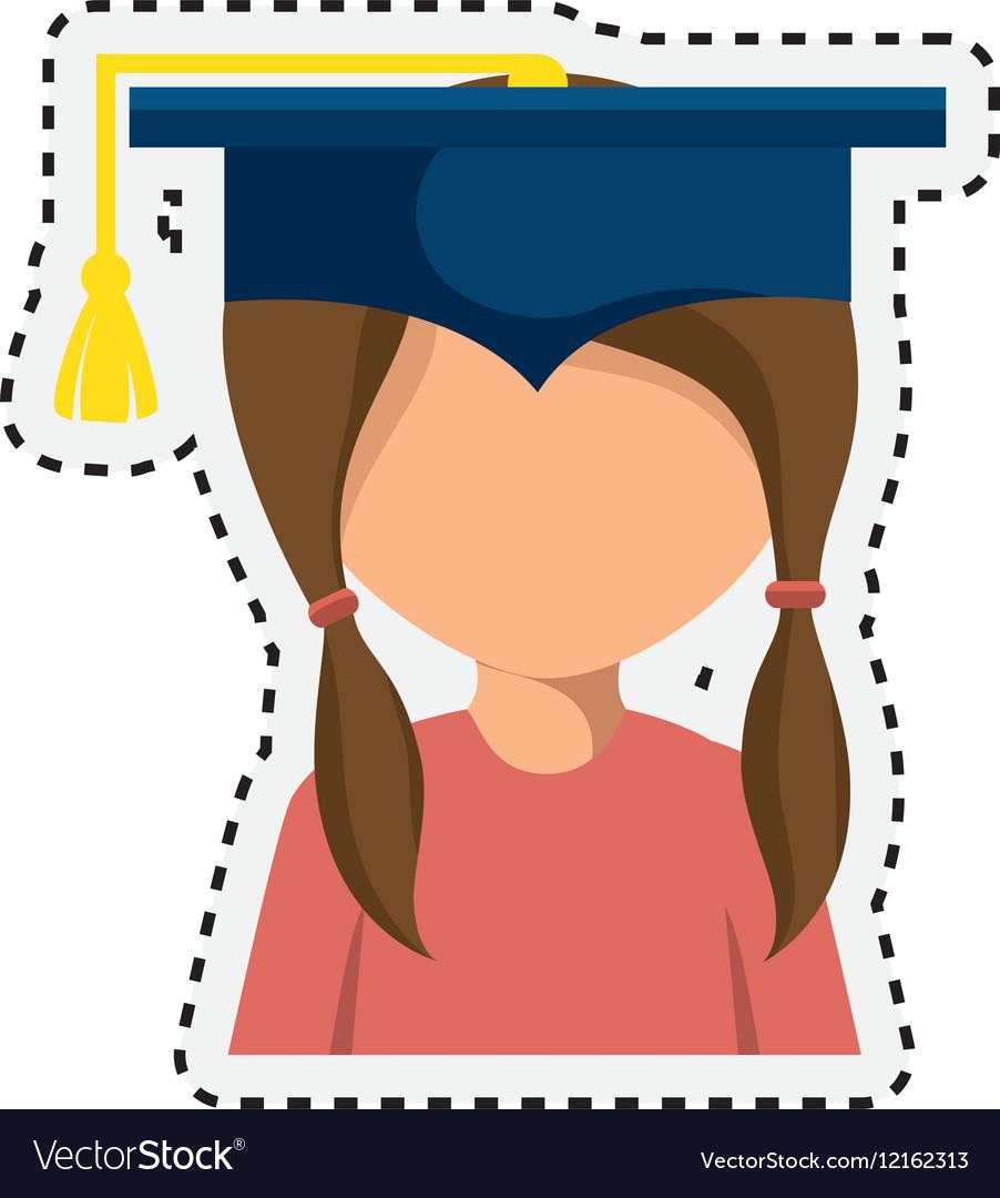 Student graduation with uniform icon