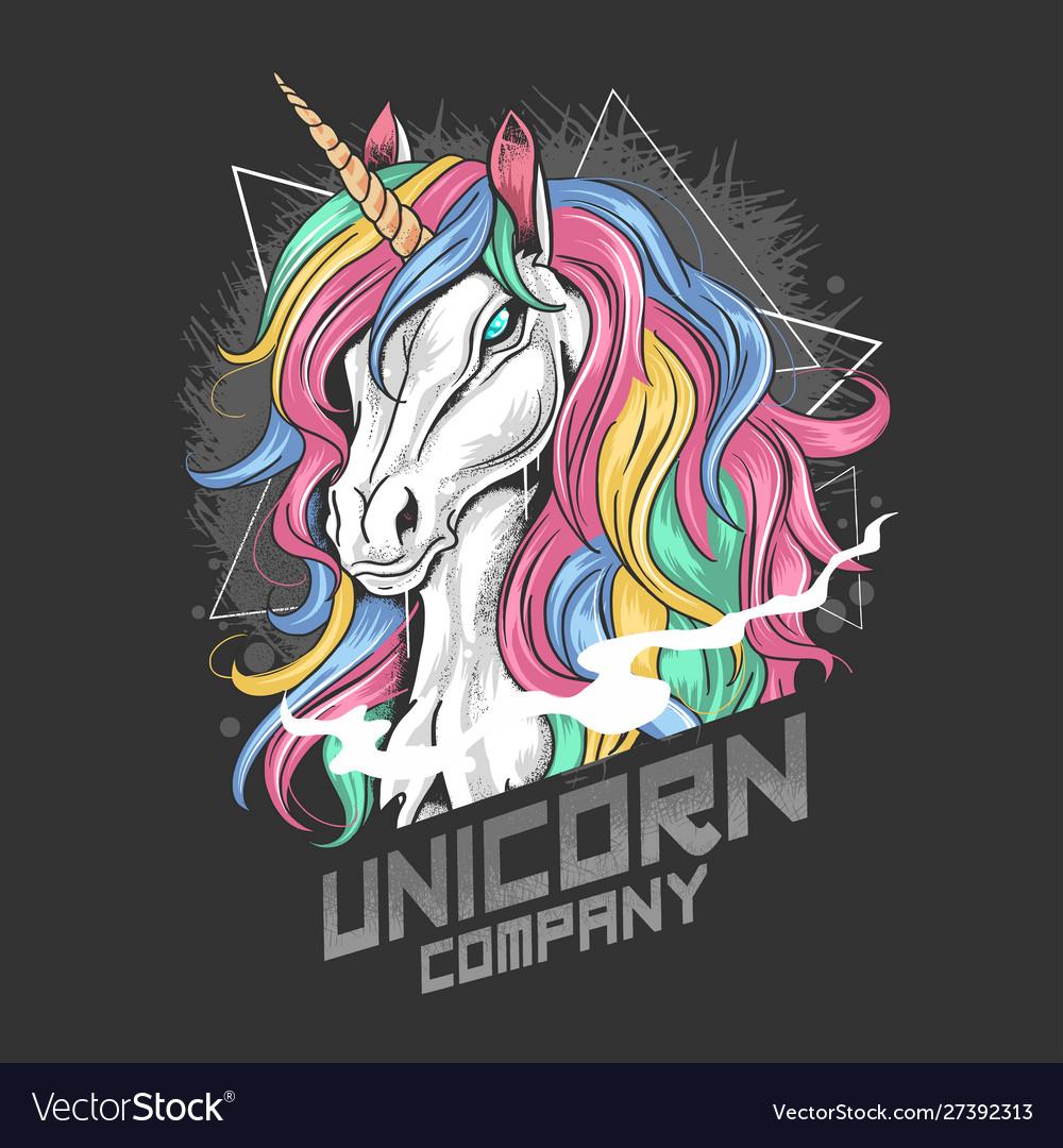 Unicorn full colour with gold horn and rainbow hai