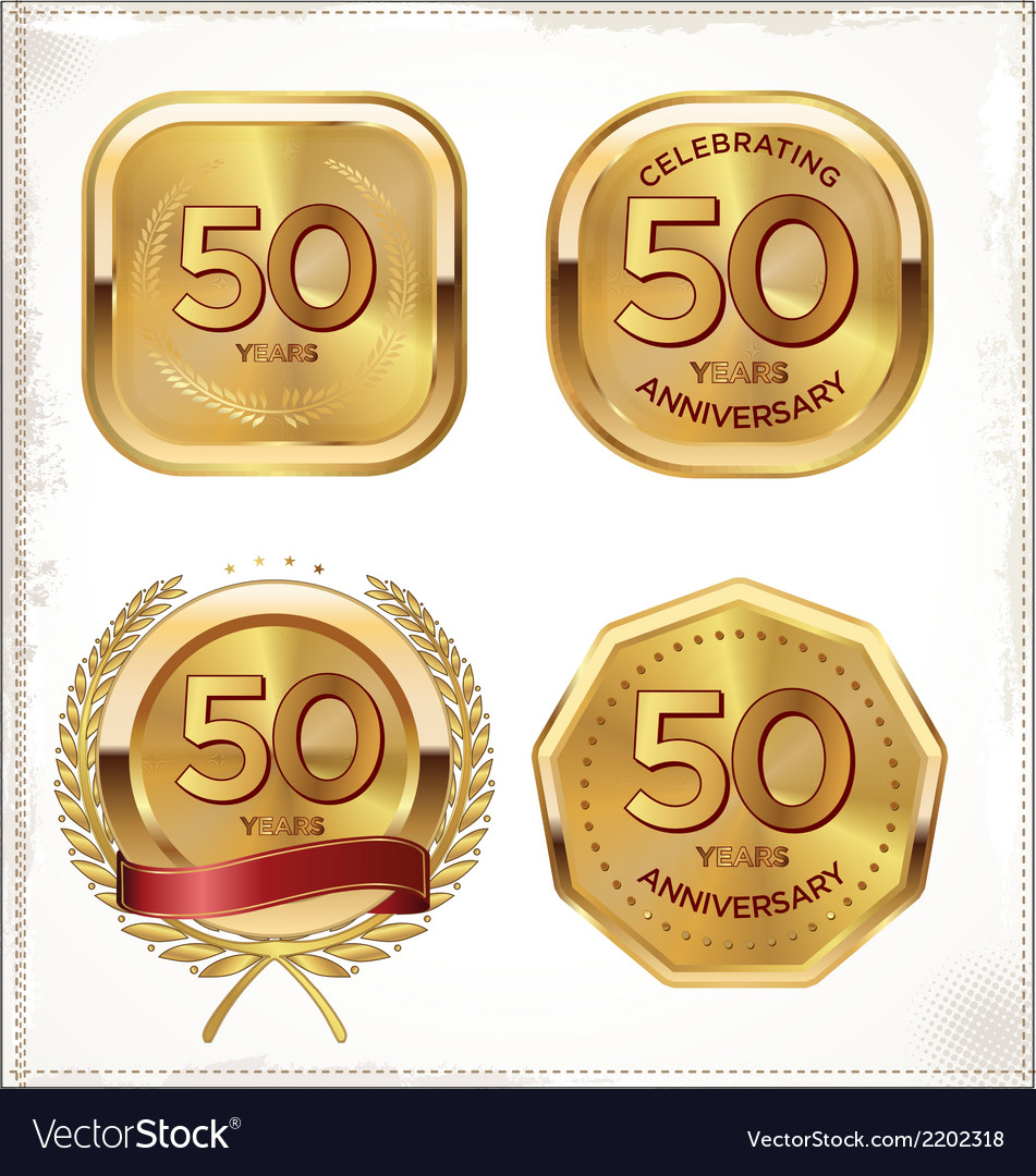 50 years anniversary golden labels