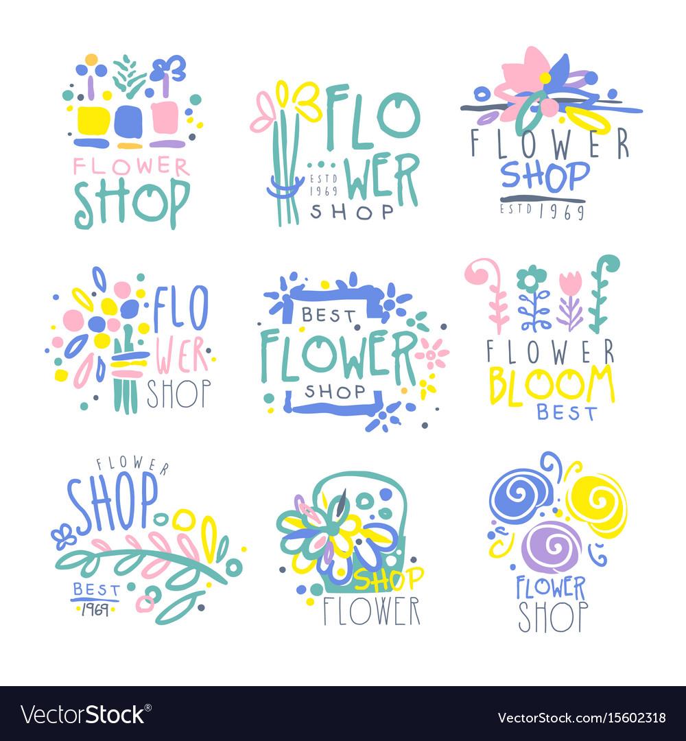 Best flower shop set of logo templates hand drawn