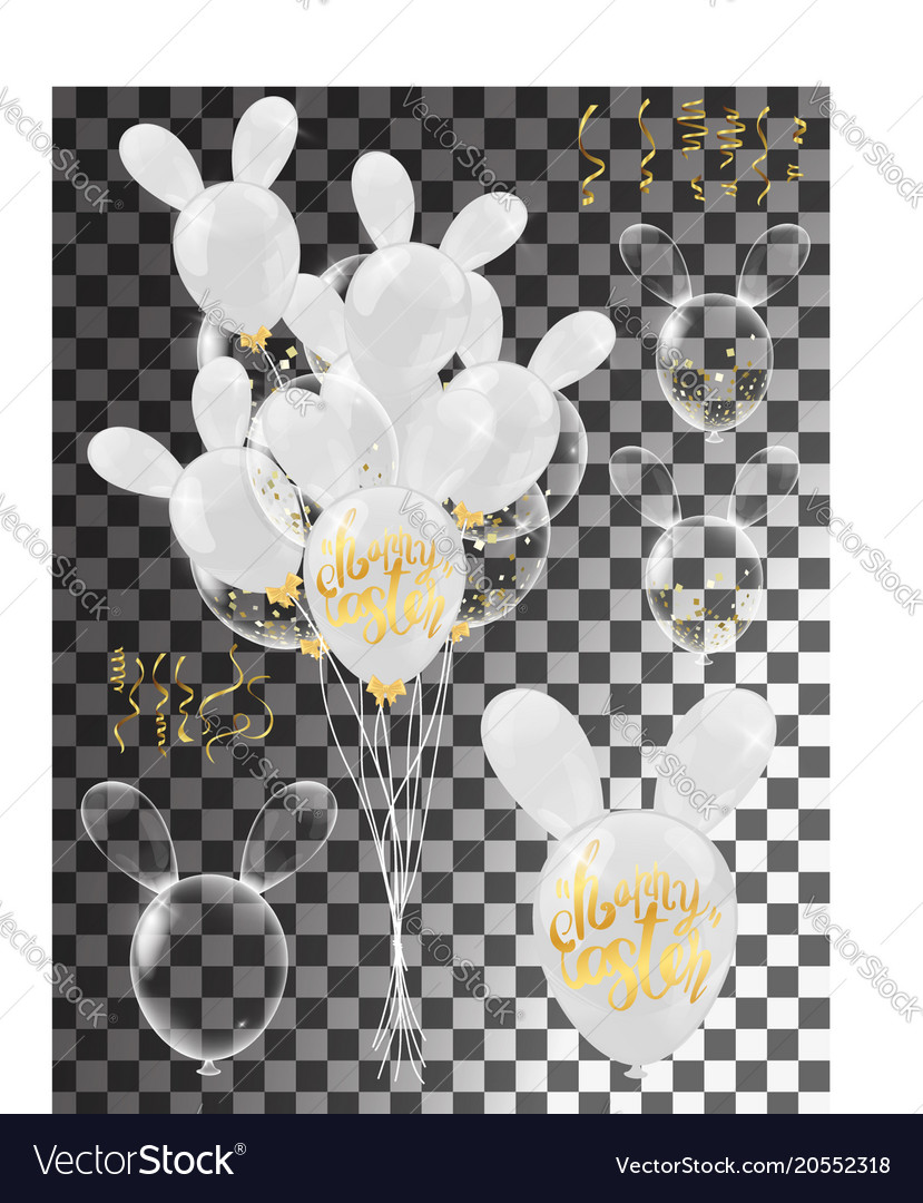 Calligraphy with abstract balloons bunny ears Vector Image