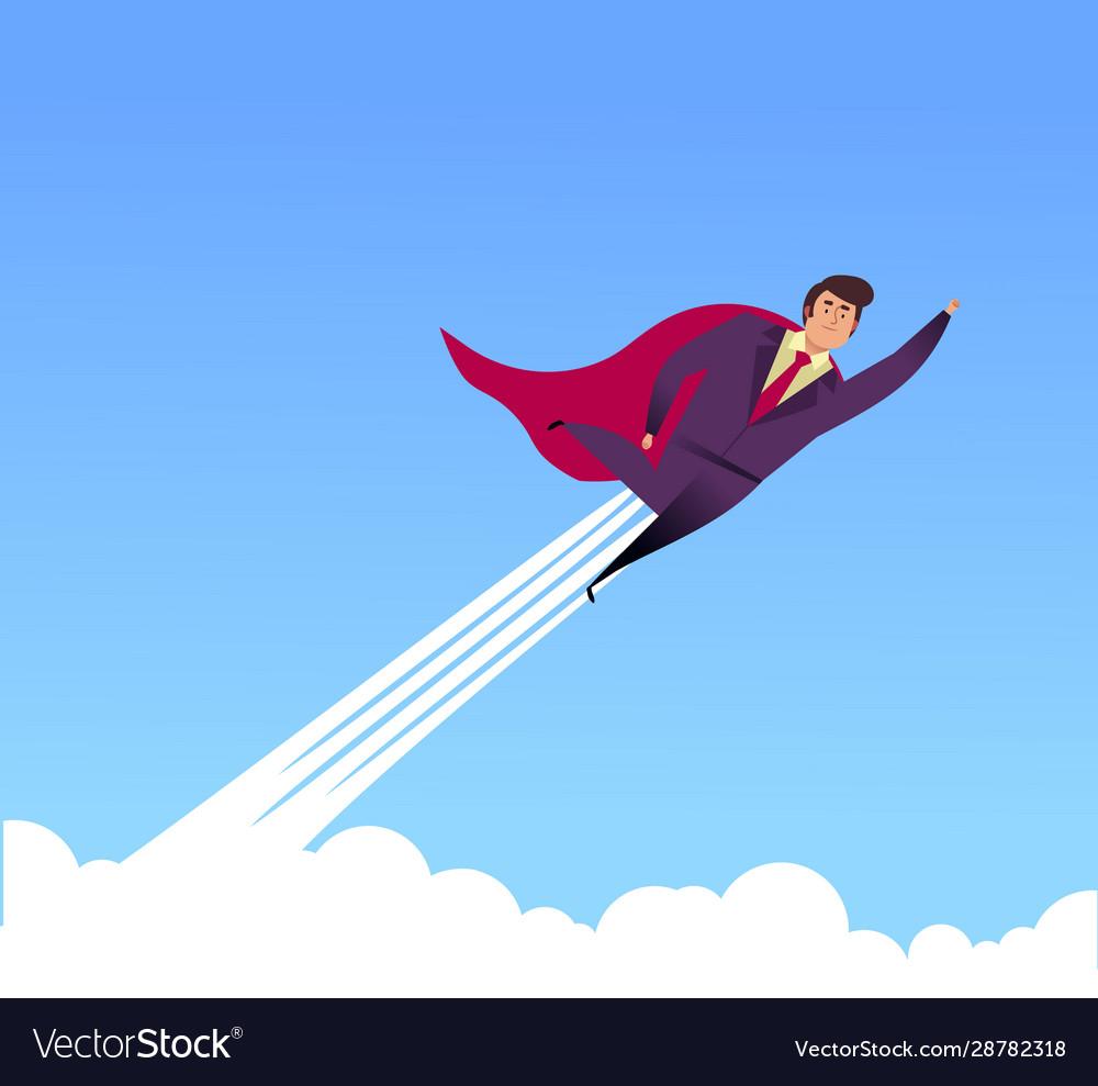 Flat flying business heroes man superhero