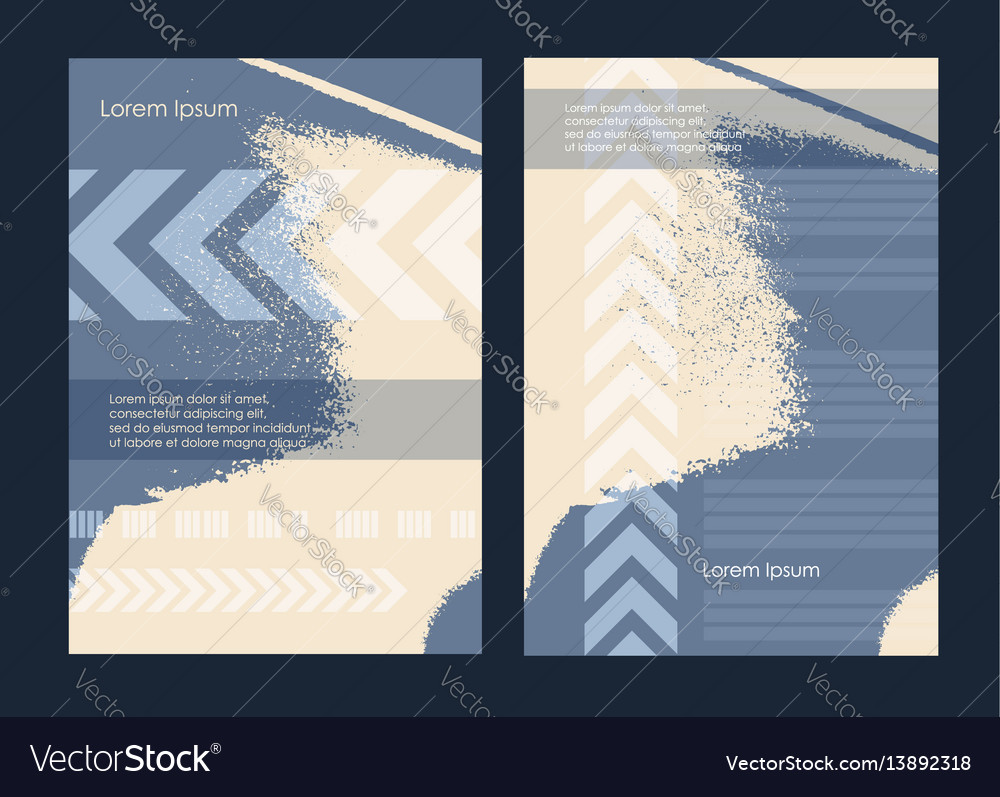 Flyer grunge style texture blue yellow set vector image