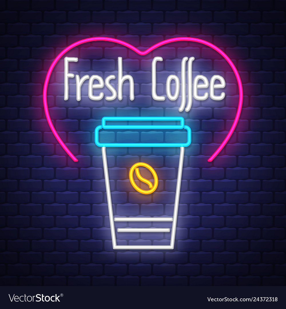 Fresh coffee- neon sign on brick wall background
