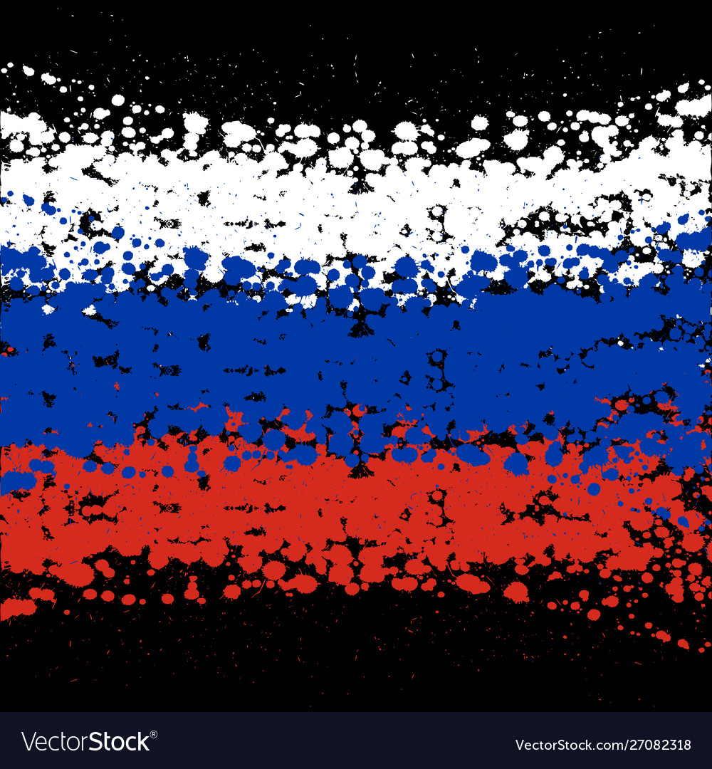 Grunge blots russia flag background