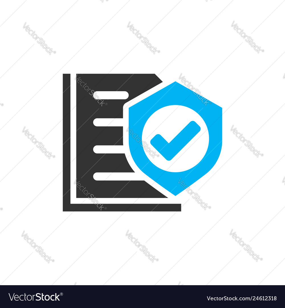 Insurance policy icon in flat style report on