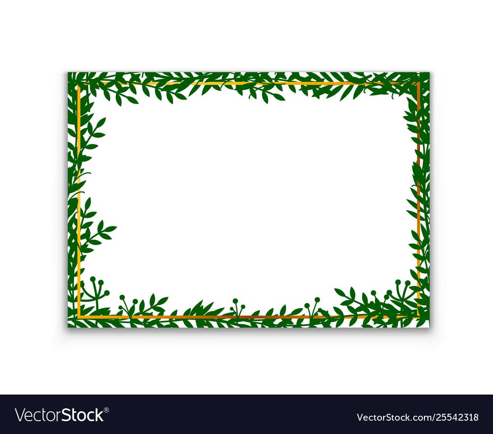 Leaves frame white frame on background