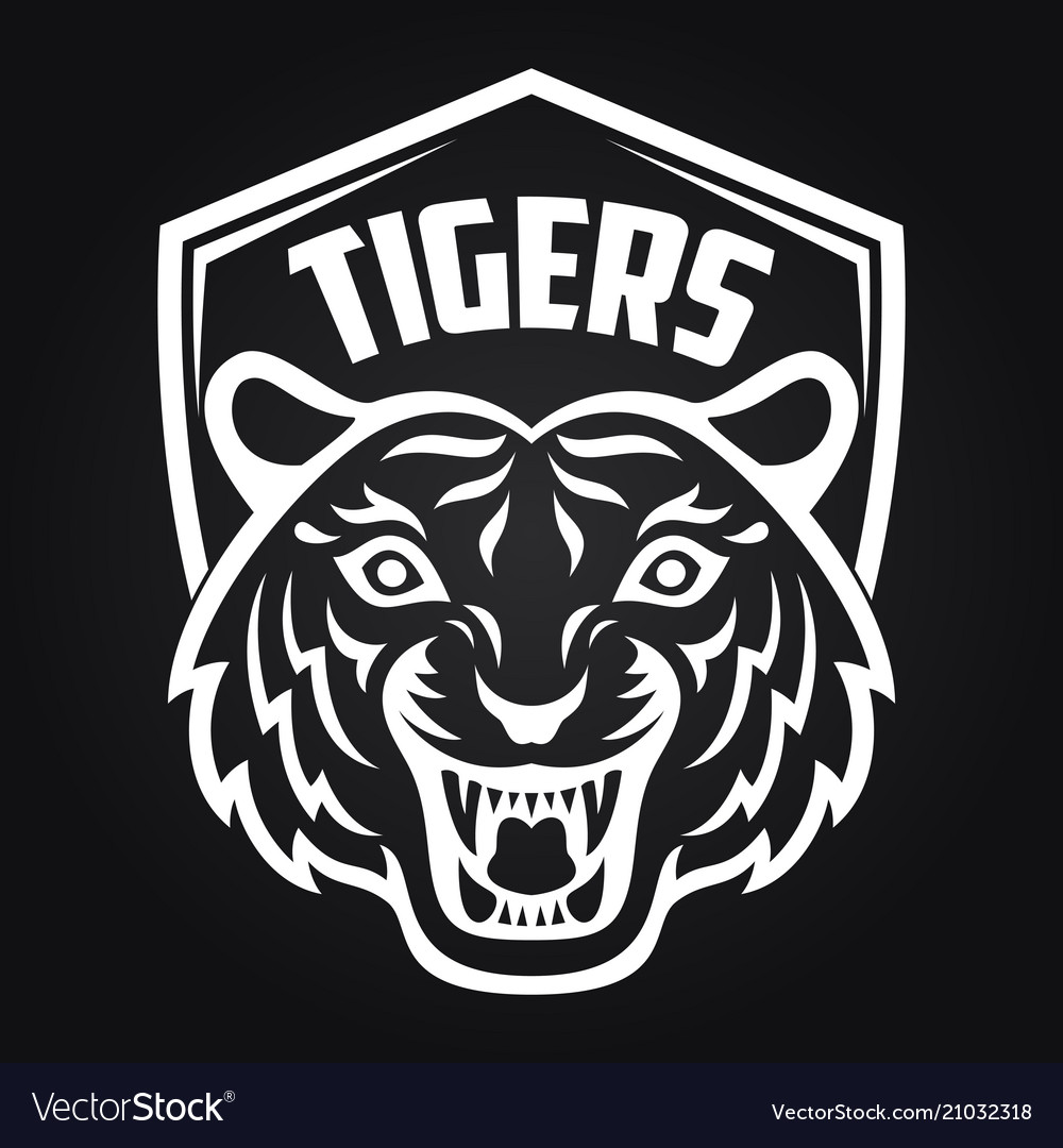 Mascot of white tiger head on shield background