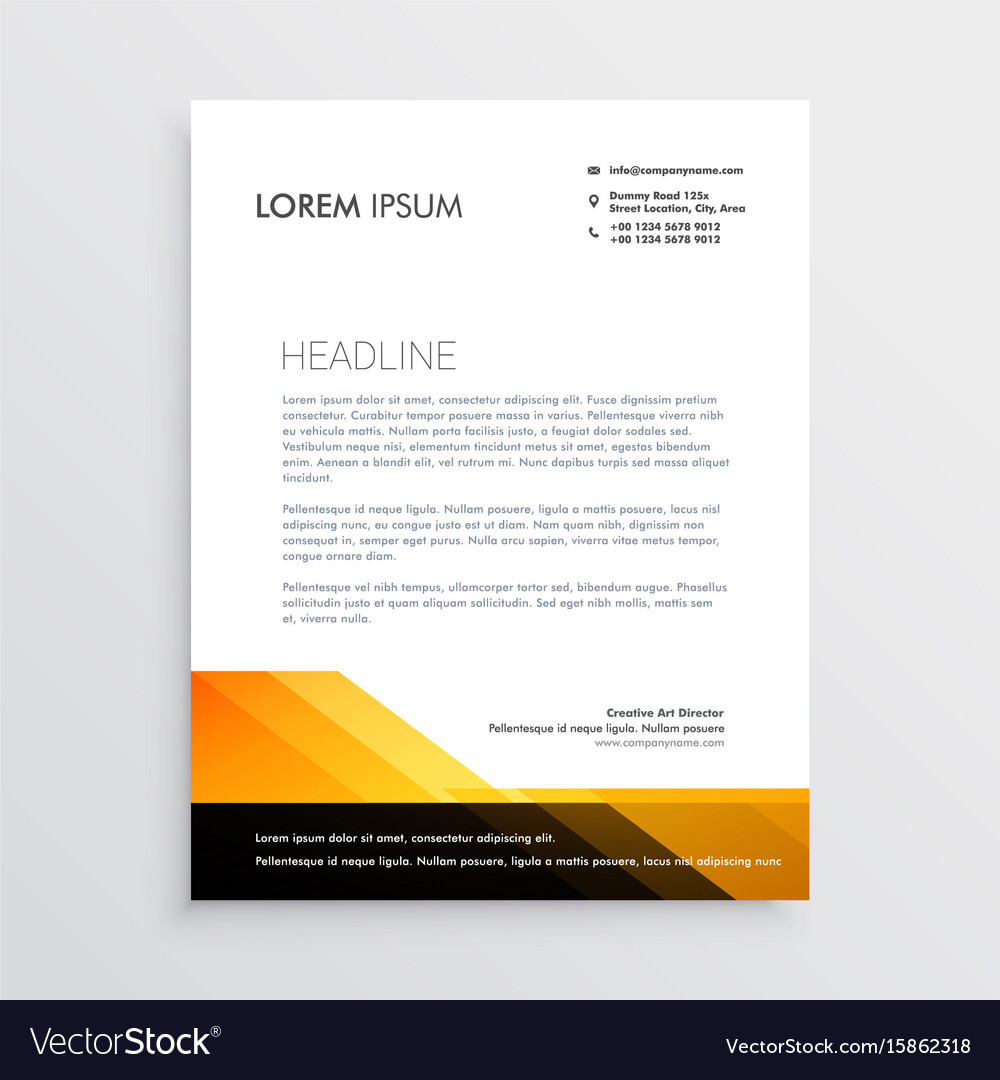 modern orange and black letterhead template design vector image
