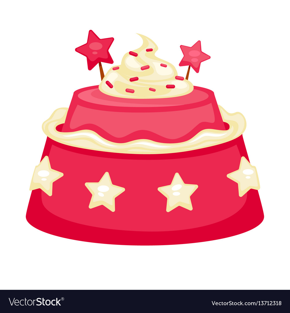 Pink creamy cake with decorations in form of stars vector image